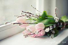 Tulpen mit Weidenkätzchem