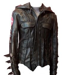 leather hooded jacket w/ a militant meets apocalyptic edge, but still very wearable