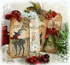 Christmas Tags ~ Tim Holtz Inspired holiday altered tags reindeer