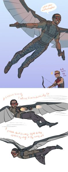 Sam Wilson (The Falcon) is really looking forward to being an Avenger. Hawkeye has mixed feelings about another bird in the family.
