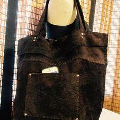 Edit your Large Nubuck Leather Dark Brown Tote Bag Boho Western | CustomMade