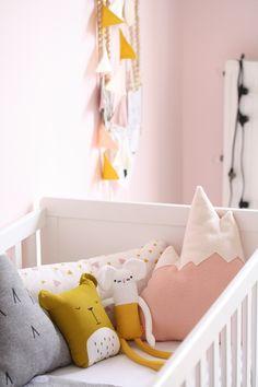 Baby girl nursery. Modern baby girl nursery. Nursery decor. Nursery design. Modern decor. Mid century nursery. Colorful nursery. Girl nursery. Baby girl.