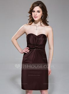Bridesmaid Dresses - $99.99 - Sheath/Column Sweetheart Knee-Length Satin Bridesmaid Dress With Ruffle Bow(s) (007037301) http://jjshouse.com/Sheath-Column-Sweetheart-Knee-Length-Satin-Bridesmaid-Dress-With-Ruffle-Bow-S-007037301-g37301?snsref=pt&utm_content=pt