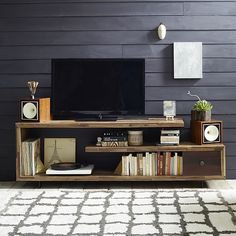 Staggered Wood Console for tv stand with one drawer, and variable size shelves