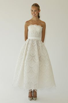 Tea Length Wedding Dress From Oscar De La A S Fall 2017 Bridal Collection Chic Vintage Brides