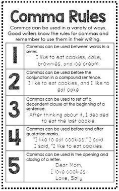 Grammar Posters, EDUCATİON, Comma Rules Anchor Chart - Great for Interactive Writing Journal - Grammar Mini Anchor Charts. Grammar Skills, Teaching Grammar, Grammar Lessons, Teaching Writing, Essay Writing, Teaching English, Teaching Spanish, English Grammar Rules, Grammar Tips