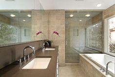 carrelage sol et murs et plan vasques en couleurs naturelles