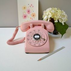 Vintage rotary phone; working rotary dial telephone; pink retro phone; 1960's rotary dial desk phone in bubblegum pink by TheGoldGator on Etsy