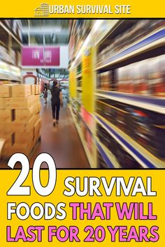 As long as you take the right precautions, these 20 survival foods will last at least 20 years, allowing you to ride out any disaster. Best Survival Food, Emergency Preparedness Food, Emergency Food Storage, Canned Food Storage, Emergency Preparation, Survival Prepping, Survival Equipment, Homestead Survival, Kids Survival Skills