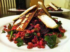 petite kitchen: grilled haloumi on a bed of roasted beetroot and spinach