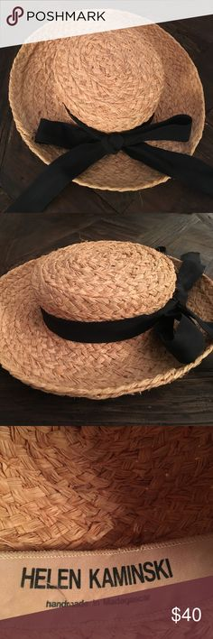 Helen Kamimski Summer Hat Crafted from the finest woven Madagascan Raffia. Classic turn-up brim. Gently used good condition with a few wayward strands of raffia. Fits a small head. Helen Kaminski Accessories Hats