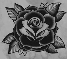 old school traditional rose tattoo