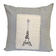 This cotton-linen pillow features a script-detailed Eiffel Tower against a striped motif.    Product: PillowConstruction Material: Cotton and linenColor: Black and creamFeatures:  Knife edgeTicking and patchwork detailsInsert included Dimensions: 20 x 20Cleaning and Care: Dry clean only