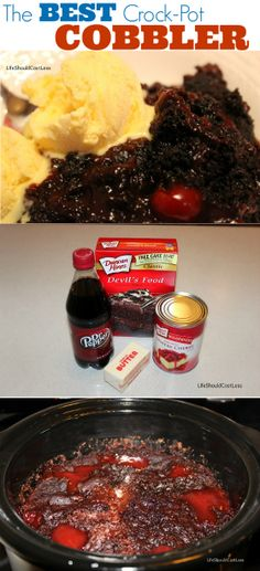 Pepper Cobbler in the Crockpot Chocolate Cherry Dr. Pepper Cobbler in the Crockpot Slow Cooker Desserts, Crockpot Deserts, Crockpot Recipes, Cooking Recipes, Cooking Hacks, Chocolate Cobbler, Chocolate Cherry, Chocolate Cake, Dutch Oven Cobbler