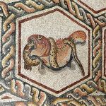 Lod Roman mosaic, fish and python. http://helenmilesmosaics.org/mosaic-sites/lod-roman-mosaic/