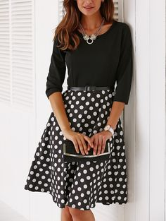 $33.50  Vintage Belted 3/4 Sleeve Polka Dot Jewel Neck Dress is the beautiful vintage dress which u must have in your wardrobe for a pleasant change this spring.    #POLKADOTDRESS #STYLISHDRESS #VINTAGEDRESS #WOMENDRESS