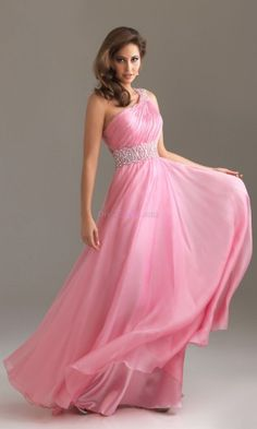 One Shoulder Backless Empire Long/Floor-length Chiffon Evening Dresses With Draped ED3050