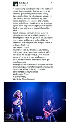 A letter to Chris Cornell, from Stone Gossard, in remembrance of what would have been his 53rd birthday on July 20th.