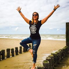 Limited edition Yoga Vixen Mandala baby tee! Available  for €34.95 at www.yogavixen.nl. Pair this t-shirt with our Who's That Girl necklace and leather and grommet bracelet! Get your Vixen Tree Pose on! #yogavixen #BOOM #yoga #yogaflow #yogavixenmandala #beachyoga #treepose #vixen #fierce #ferocious #Domburg #summertime