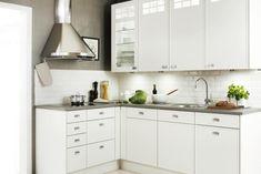 Nixi keittiö - Yläkaapit vain toisella seinällä, keveämmän näköiset kuin kulmakaappi