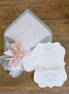 This is why I love blush and grey!    They always say the invitation sets the tone. These invitations from Foglio Press definitely did! Photography by austinwarnock.com, Invitations by  fogliopress.com