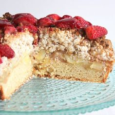 Apple and Strawberry Crumble Cake.