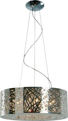 Nine Light Chrome Drum Shade Pendant | The light in our dinning nook!!!