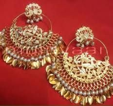 Hand Made 24 ct. Gold Plated Traditional Punjabi Jewellery Morewali Earrings Jhumka Muteyaar - The Oldest Punjabi Online Shopping Store, Buy the Best ! Indian Jewelry Earrings, Real Gold Jewelry, Jewelry Design Earrings, Gold Jewellery Design, Wedding Jewelry, Jewelery, Jewelry Sets, India Jewelry, Handmade Jewellery