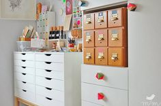 """Ikea drawers and vintage library card storage in the craft room"" -- This is from ""24 Creative Craft Room Storage Ideas"" and the original source is http://margamarina.blogspot.co.uk/2013/09/sommerpause.html"
