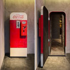 "There's a vintage Coca-Cola vending machine in Shanghai that hides a stylish up-scale bar called ""Flask."" The otherwise unassuming Coca-Cola machine stands in The Press, a sandwich shop that operates. Bar Speakeasy, Coke Machine, Vending Machine, Bar Secreto, Passage Secret, Coca Cola Vintage, Vintage Bar, Vintage Fridge, Hidden Spaces"