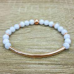 Chalcedony & Rose Gold bar bracelet