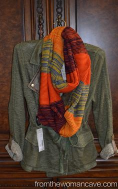 I love EVERYTHING about this... the jacket is perfect color and the scarf is awesome (and I normally shy away from orange).