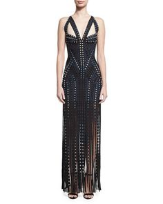 Grommet-Embellished Sleeveless Bandage Gown with Fringe Skirt, Black by Herve Leger at Neiman Marcus.