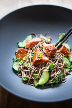 Sesame Soba Noodles with Smoked Salmon & Cucumber. Lunch is served!