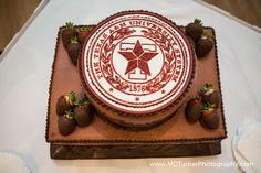 Chocolate Texas Aggie groom's cake with chocolate covered strawberries - Houston wedding photography - MD Turner Photography
