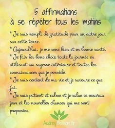 5 affirmations à se répéter tous les matins - Jehan-Michel Bernard - Pin Affirmations Louise Hay, Miracle Morning Affirmations, Affirmations Positives, Vie Positive, Positive Attitude, Positive Vibes, Positive Quotes, Positive Motivation, Burn Out