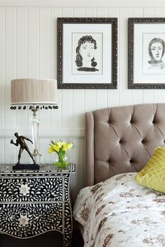Master Bedroom featuring bone inlay bedside tables, custom-made bedhead and bedding with framed Picasso lithographs.