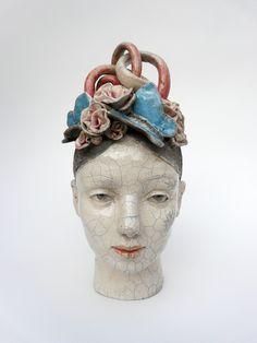 Tête à papillons // ceramic sculpture by Lidia Kostanek Sculpture Head, Sculptures Céramiques, Ceramic Pottery, Ceramic Art, Drawing Heads, Home Deco, Clay Figures, Contemporary Ceramics, Illustrations