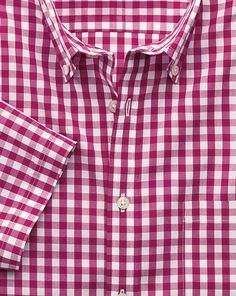 Classic fit non-iron short sleeve poplin check red shirt