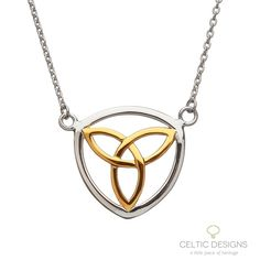 Sterling silver yellow gold plated Trinity knot necklace. Celtic Designs Jewellery Made in Ireland.