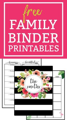 Free Family Binder Printables. Download free family binder printables to help get you get organized. Free planner printables for Moms. Over 30+ free printable pages. Free Happy Planner Inserts.