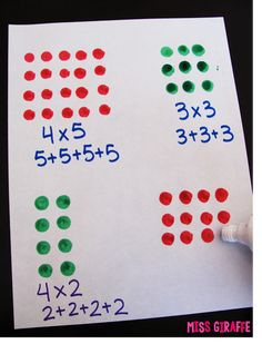 Arrays teaching tip - use a dot marker to create rectangular arrays to show repeated addition or multiplication - so much fun for grade or or even They love getting to use them and its such a hands on way to practice Multiplication Activities, Math Activities, Multiplication Problems, Numeracy, Array Multiplication, Addition Activities, Addition Games, Math Addition, Therapy Activities