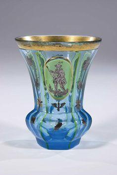 254: Becher Bohemia Glass Beaker Juggler Vintage Old : Lot 254