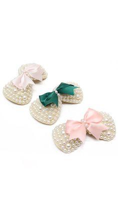23301  Pearl fabric ribbon bow nice