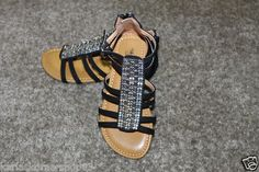 New without box Total Girl Black Zip Back Beaded Metallic Girls Sandals Size 12 They have zip up back and buckle up  Returns accepted if not 100% satisfied ( No hassle return policy) *Returned in same condition you received it in. *I pay for returned shipping if it is my fault *If it is your fault you pay for returned Shipping FAST SHIPPING!!!