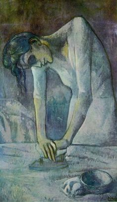 Picasso Blue Period Art/  Woman Ironing/ La repasseuse/ 熨衣服的女人/   Oil on canvas/ 1904