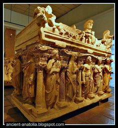 3rd Century Roman sarcophagus of Sidamara at Archaeology Museum of Konya.  Sidamara was an ancient city in Asia Minor, now in the province of Konya in Turkey, on the road between Karaman and Eregli.  The sarcophagi of the type Sidamara in Roman sarcophagi were figured to architectural framework in which the figures are separated by carved columns and placed in small kiosks depicted in the background.  Preserved in the Museum of Archeology in Istanbul.