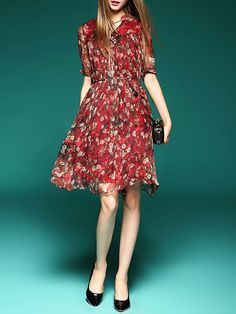 Floral Pattern Printed Silk Midi Dress