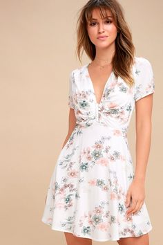 f51cfa29a31 Flor-Ever White Floral Print Skater Dress