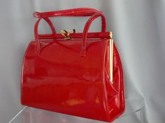STRAWBERRY RED PATENT/ Kelly Style Handbag/ Twin Handles/ Gold Tone Elbief Frame/ Fabulous Lock Detail/ Beige Suede Interior Vintage English